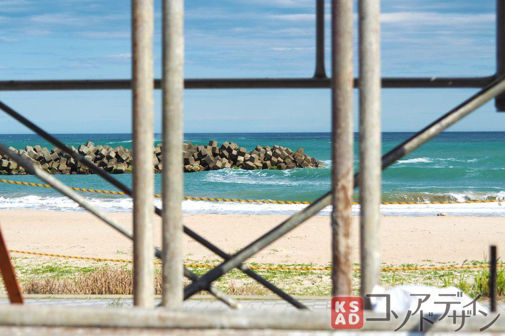 建設中の防波堤